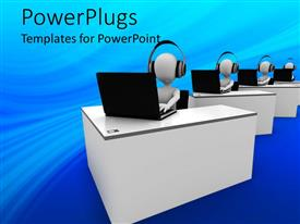 PowerPlugs: PowerPoint template with four animated white human figures with headsets and laptops