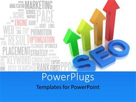PowerPlugs: PowerPoint template with four arrows and a text tht spells out the word 'SEO '
