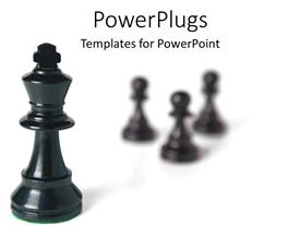 PowerPlugs: PowerPoint template with four black chess pieces, focus on king chess piece and three pawns faded in the white background