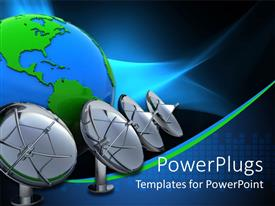 PowerPlugs: PowerPoint template with four black satellite dishes beside a blue earth globe