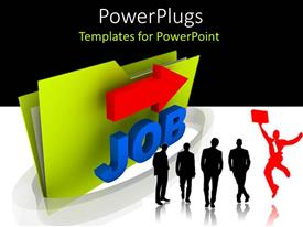 PowerPlugs: PowerPoint template with four black silhouettes and red leaping silhouette next to large green folder with Job and red arrow