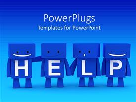 PowerPoint template displaying fourblue colored3d characters with text which spell out the word