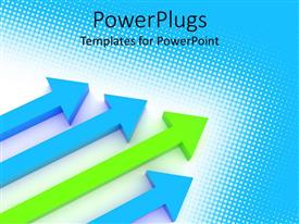 PowerPlugs: PowerPoint template with four blue and green arrows on a blue background