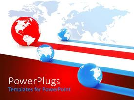 PowerPlugs: PowerPoint template with four blue and red globes with the red one leading