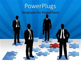 PowerPlugs: PowerPoint template with four business men standing on different blue colored puzzles