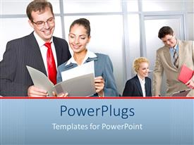 PowerPlugs: PowerPoint template with four business men and women smiling and looking at reports
