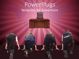 PowerPoint template displaying four business people lined up in a race with director desk and chair and map of world in the background