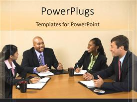 PowerPlugs: PowerPoint template with four business people smiling and having a conference table meeting