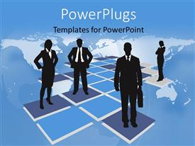 PowerPoint template displaying four business people standing on purple tiles with a map