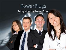 PowerPlugs: PowerPoint template with four business people standing together over a black background