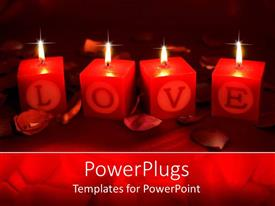 PowerPlugs: PowerPoint template with four candles depicting the world love with dark background