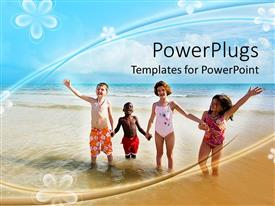 PowerPlugs: PowerPoint template with four children on beach, diversity, flower background