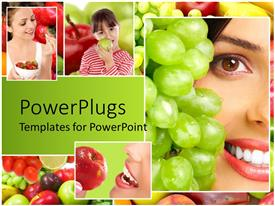 PowerPlugs: PowerPoint template with four colorful tiles of three ladies and a girl eating different  furuits