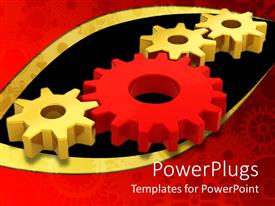 PowerPlugs: PowerPoint template with four connected gears with three golden gears and one red gear between them