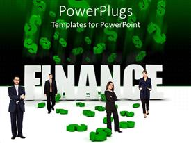 PowerPoint template displaying four cooperate dressed adults in front of a Finance text