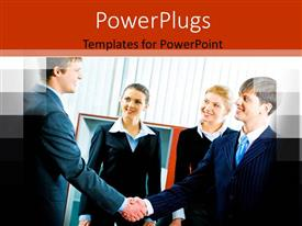 PowerPlugs: PowerPoint template with four corporately dressed business people shaking hands in an office