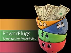 PowerPlugs: PowerPoint template with four coulorful soup bowls stacked up with some dollar bills inside