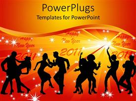 Beautiful PPT layouts with four couples of silhouettes dancing and happy new year 2011 in light stars various dancing pairs on yellow and orange background