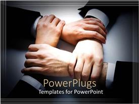 PowerPlugs: PowerPoint template with four crossed human hands wearing suits in white background