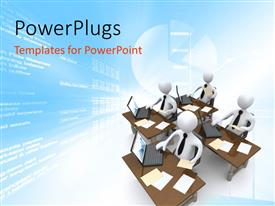 PowerPlugs: PowerPoint template with four data analyst professionals with laptop and documents on desk
