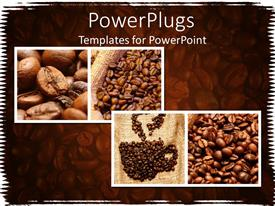 PowerPoint template displaying four depictions of brown coffee beans on a brown background
