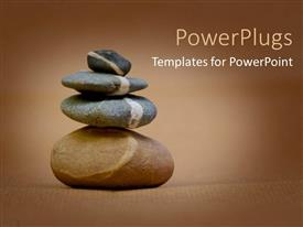 PowerPoint template displaying four different sizes of pebbles stacked on each other
