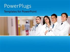 PowerPoint template displaying four doctors standing in line and smiling in a hospital background