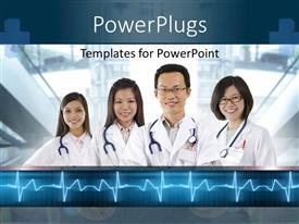 PowerPlugs: PowerPoint template with four doctors with stethoscopes standing side by side and smiling