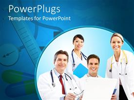 PowerPlugs: PowerPoint template with four doctors, two female and two male doctors smiling at the camera, doctors with stethoscopes, laptop and files on medical tools background