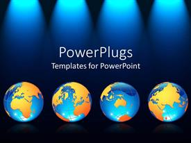 PPT featuring four earth globes on a lit black background with stage lights