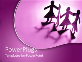 PowerPlugs: PowerPoint template with four female paper cut kids on a purple background
