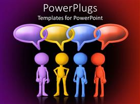 PowerPlugs: PowerPoint template with four figures in different colors with linked conversation bubbles