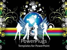 PowerPlugs: PowerPoint template with four girls dancing together with a globe in the background