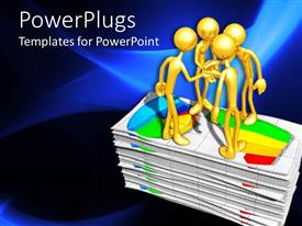 PowerPlugs: PowerPoint template with four gold colored characters standing on a pile of graph sheets