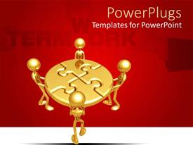 PowerPlugs: PowerPoint template with four gold colored human characters holding a round puzzle
