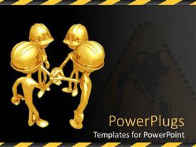 PowerPlugs: PowerPoint template with four gold figures in hard hats grasping hands in center, team work