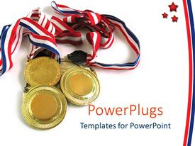 PowerPoint template displaying four gold medals together on a plain white background