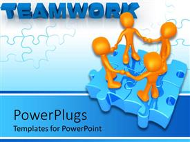 PowerPlugs: PowerPoint template with four golden characters standing on a blue colored puzzle