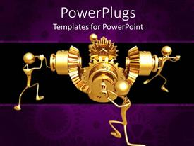 PowerPoint template displaying four golden human figures operating a machine portraying team work