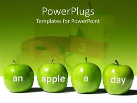 PowerPlugs: PowerPoint template with four green apples with words An Apple A Day in front of measuring tape