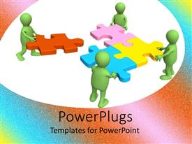 PowerPoint template displaying four green characters building up a multi colored puzzle piece