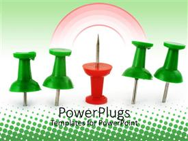 PowerPlugs: PowerPoint template with four green pins with a red pin facing upward