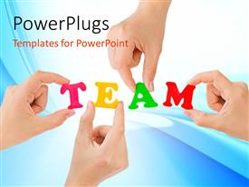 PowerPoint template displaying four hands holding letters in TEAM against blue background