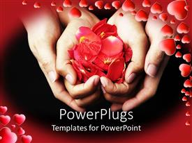 PowerPlugs: PowerPoint template with four hands holding red rose petals on black background with red frame filled with red hearts