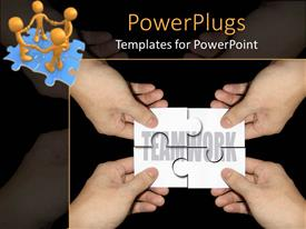 PowerPoint template displaying four hands with jigsaw puzzle pieces forming the word teamwork and four 3D golden figures holding hands standing on puzzle made of four blue jigsaw puzzle pieces