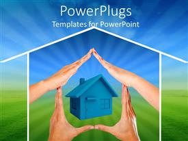 PowerPoint template displaying four hands making a house around a house, green and blue background