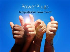 PowerPlugs: PowerPoint template with four hands showing thumbs up over blue background