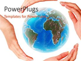 PowerPlugs: PowerPoint template with four hands surrounding and protecting globe