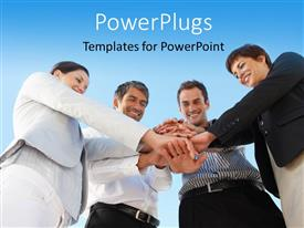 PowerPlugs: PowerPoint template with four happy business people join hands over blue background