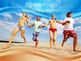 PowerPlugs: PowerPoint template with four happy friends holding hands as they run on beach sand
